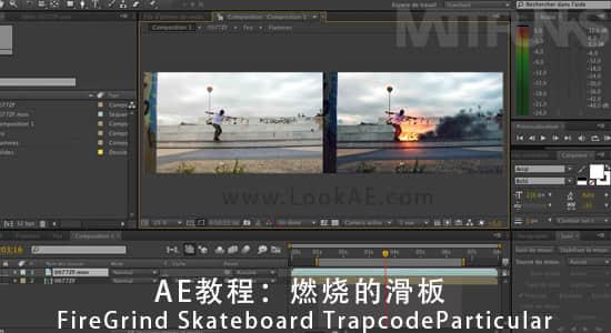 AE教程:燃烧的滑板.FireGrind Skateboard Trapcode Particular插图