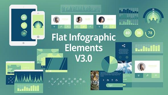 AE模板:信息数据报表MG动画 VideoHive Flat Infographic Elements V3.0插图
