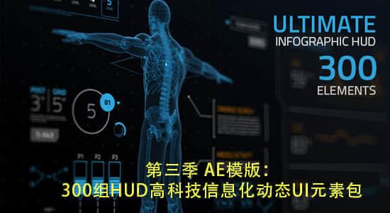 第三季 AE模版:HUD高科技信息化动态UI元素包(300组)