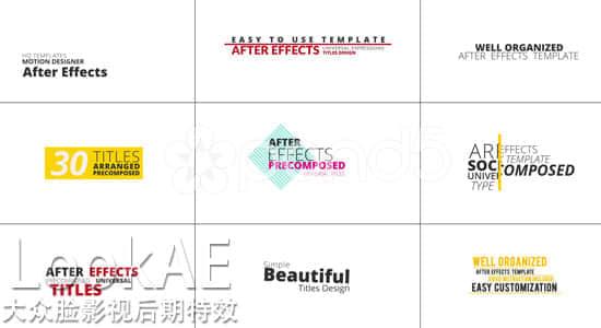 AE模板:30组文字标题排版动画效果  4K分辨率+修改视频教程