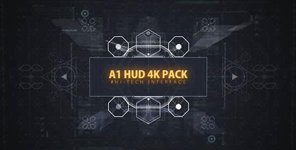 AE模板:4K分辨率 炫酷HUD高科技UI触控屏幕动画元素