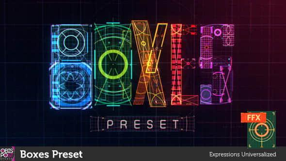 AE预设:高科技HUD信息化科幻UI元素动画 Boxes Preset