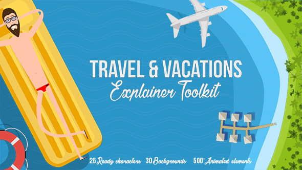 AE模板:旅游度假卡通角色人物场景MG动画元素包 Travel & Vacations Explainer Toolkit