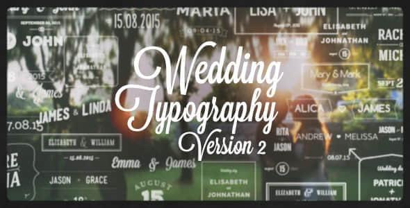 AE模板:浪漫婚礼姓名日期文字标题动画 Wedding Typography Titles – Version 2