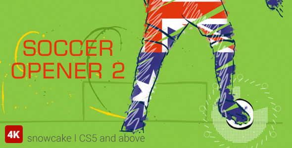 AE模板:足球体育赛事MG动画栏目包装片头 Soccer Opener 2