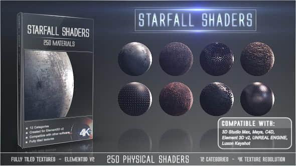 E3D预设:250种金属布料玻璃土石塑料纹理 Element 3D材质贴图 Starfall Shaders Win/Mac