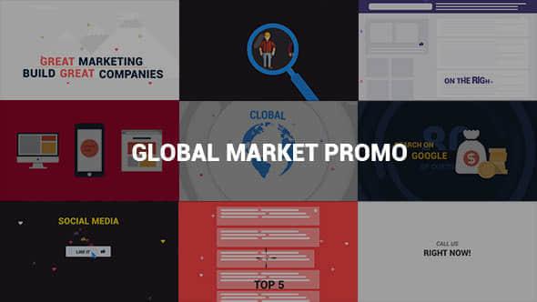 AE模板:网络营销展示介绍MG动画 Global Market Promo