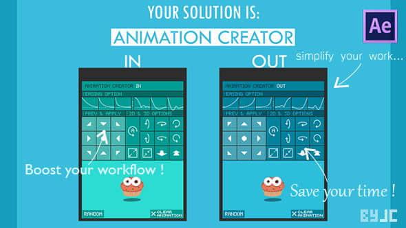 AE脚本:图层对象缓入缓出MG弹性动作预设工具 Animation Creator – Infinite Possibilities of Anim