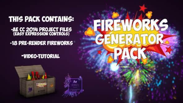 视频素材+AE模板:18个高清烟花爆炸视频素材 Fireworks(带透明通道)