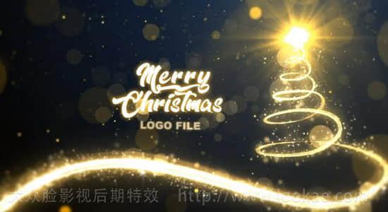 AE模板:金色拖尾光线粒子圣诞节片头 Christmas Glittering
