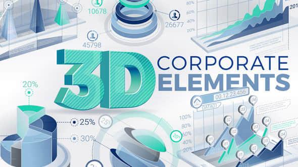 AE模版:公司企业三维数据信息展示动画 3D Corporate Elements
