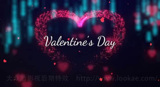 Premiere模板:情人节爱心粒子玫瑰花瓣文字片头 Valentine's Day