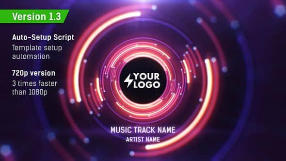 AE模版:LED背景大屏幕科技感动感音乐VJ视觉LOGO展示循环动画