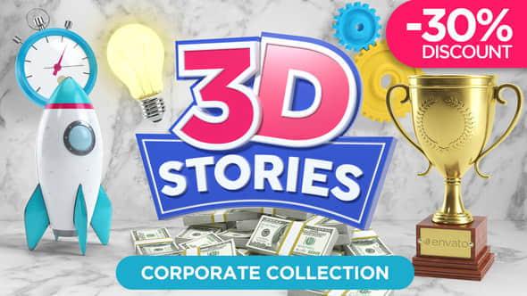 AE模板:三维Icon图标MG动画元素包 3D STORIES