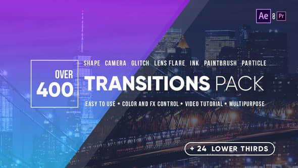 AE模板:400个推拉缩放信号干扰水墨光效图形遮罩视频转场 Transitions