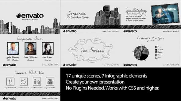 AE模板:草绘公司企业宣传介绍栏目包装 Sketch Corporate Video Pack