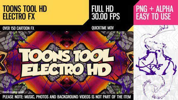 视频素材:150个卡通能量闪电MG特效动画 Toons Tool HD (Electro FX)