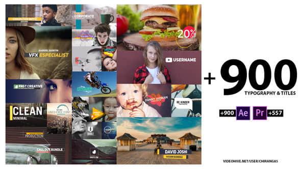 Premiere预设+AE模板:900个文字标题字幕条排版设计动画 900 Typography Titles