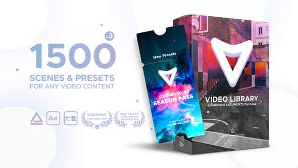 AE脚本:1500种视频特效包装动画预设 Video Library V3 Win/Mac