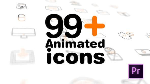 PR预设:99个MG图标动画 99+ Icons Mogrt