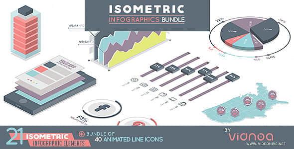 AE模板:550个等距视图信息数据报表动画包 Isometric Infographics Bundle