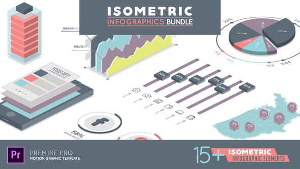 PR预设:等距视图信息数据报表动画包 Isometric Infographics Bundle
