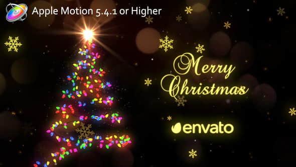 Apple Motion模板:粒子光束圣诞树节日片头 Christmas Lights
