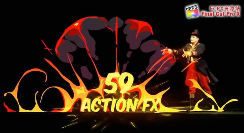 FCPX插件:59个卡通能量爆炸水流火焰烟雾MG动画元素插图