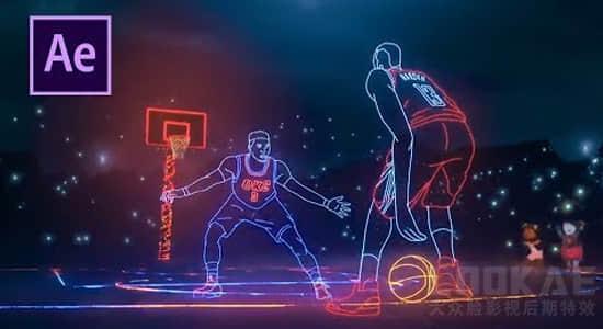 AE教程:炫酷人物轮廓描边发光线条特效制作 NBA Lights
