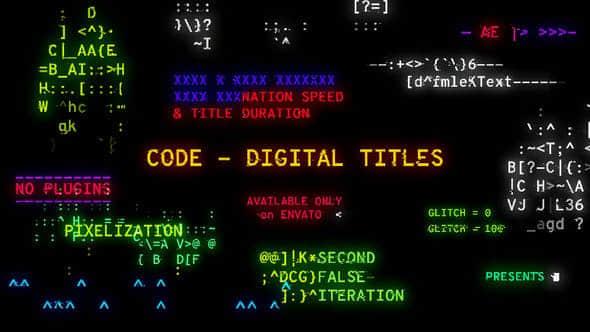 AE模板-数字代码文字标题动画 Code – Digital Titles