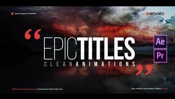 AE模板+PR预设 – 20种大气文字标题片头动画 Epic Titles 2.0