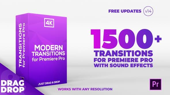 Premiere模板:1500个移动缩放平移干扰RGB色彩分离扭曲抖动炫光视频PR转场+音效 Modern Transitions v14