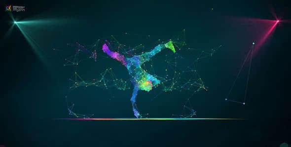 AE模板-点线科技感抽象舞者粒子动画LOGO片头 Plexus Dance Intro