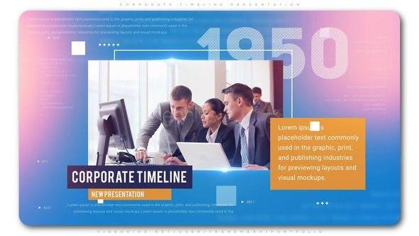 AE模板-时尚漂亮公司企业团队时间轴发展历程图文介绍展示 Corporate Timeline Presentation插图