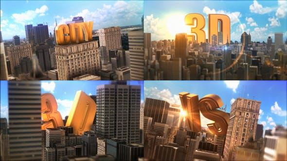 AE模板-三维城市建筑场景中大文字展示动画Epic Golden Title In City插图