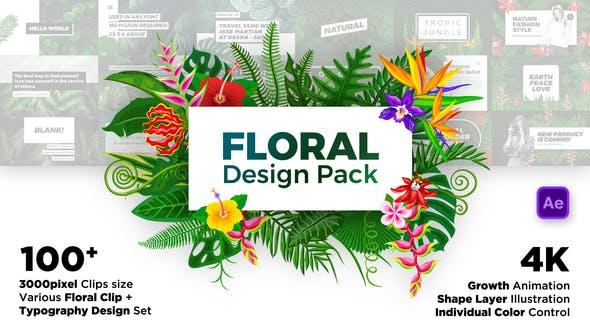 AE模板-100个绿色花草植物叶子花朵藤蔓视频设计包装 Floral Design Pack插图