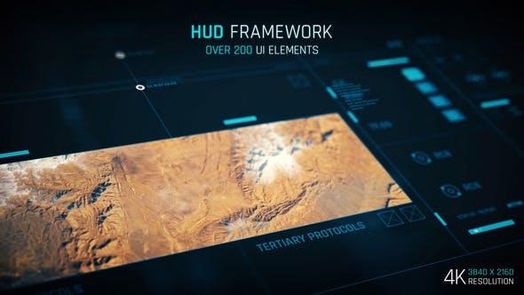 AE模板-200多种简洁UI界面科技感HUD元素动画 HUD – Framework 4K插图