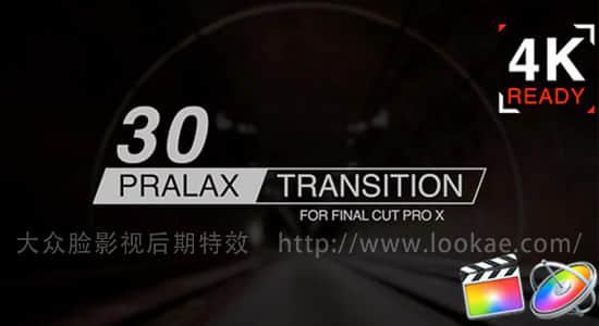 FCPX转场插件-30种图形切割玻璃折射视差转场预设 支持4K插图