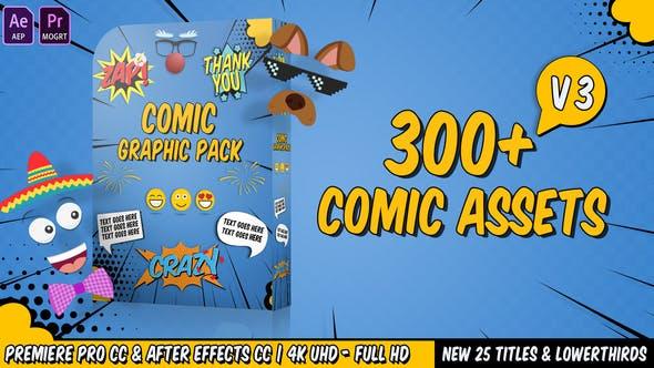 AE模板+PR预设:动漫卡通综艺表情贴纸文字图形动画包Comic Titles V3插图