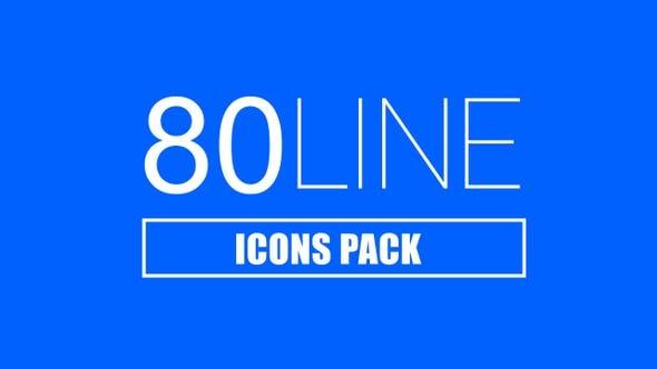 视频素材-80个日常生活网络学习云端箭头线条图标4K动画(有透明通道)Line Icons Pack插图