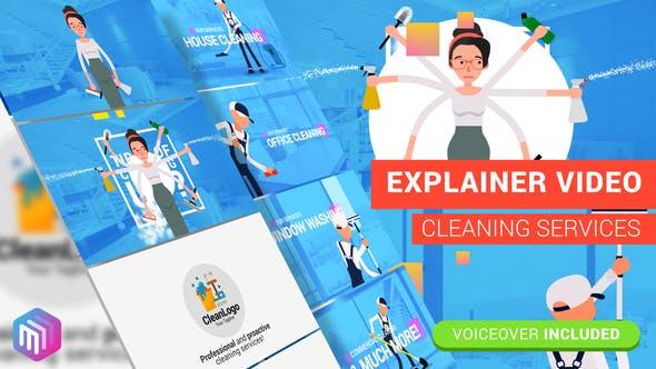 AE模板-扁平化家政保洁服务行业卡通人物MG动画 Cleaning Services插图