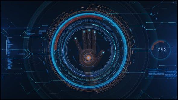 AE模板-科技感HUD手掌触摸指纹解锁LOGO标志呈现片头 Hi Tech Opener插图