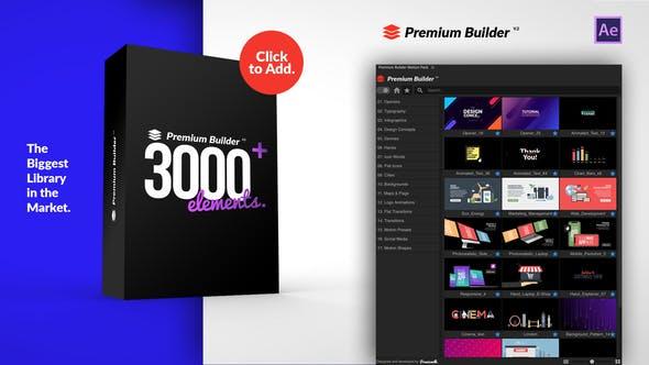AE脚本-3000种炫酷背景社交媒体LOGO图标文字标题排版设计MG图形元素转场信息数据图文介绍特效包装 PremiumBuilder Motion Pack v3