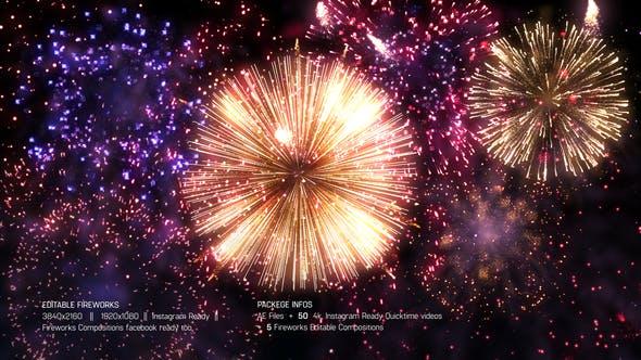 视频素材+AE模板-可编辑的喜庆节日婚礼新年活动晚会烟花爆炸动画 Editable Fireworks Template插图