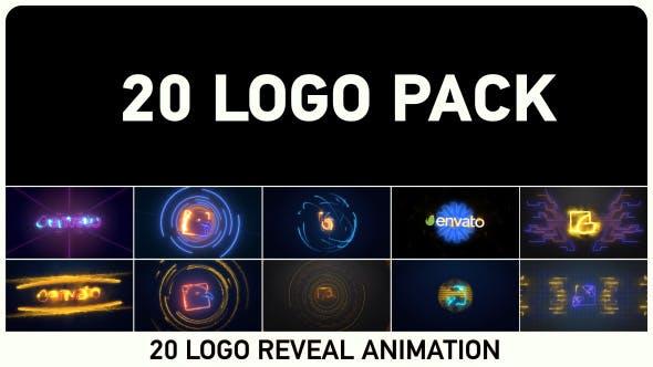 AE模板-20种使用Saber插件制作能量激光电流LOGO标志片头展示 Logo Pack