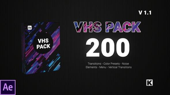 AE模板-200种复古老录像带VHS菜单录制框转场调色雪花噪波动画元素包插图