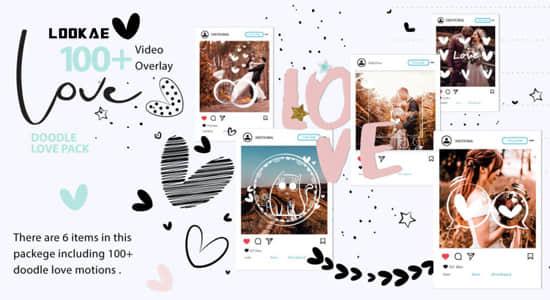 108个可爱卡通浪漫爱情手绘涂鸦图形叠加动画视频素材