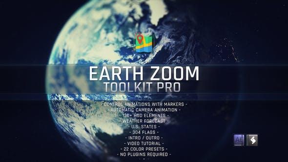 AE模板-太空地球俯冲定位地图位置标记放大展示介绍工具包(含脚本) Earth Zoom Toolkit Pro插图