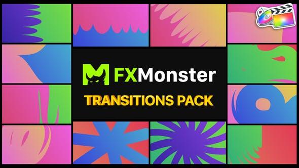 FCPX转场插件-12种二维卡通彩色渐变图形遮罩转场过渡 Colorful Transitions插图