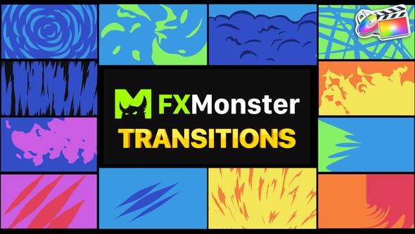 FCPX转场插件-12种二维卡通图形遮罩转场过渡 Stylish Transitions插图